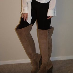 like new sz 8.5 lucky brand thigh high wedge boots